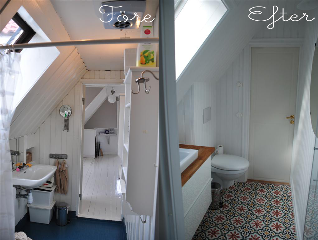Handfat och toalettstol fick byta plats vid denna badrumsrenovering.